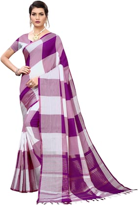 Pagazo Cotton Blend Checkered Purple & White Color Saree