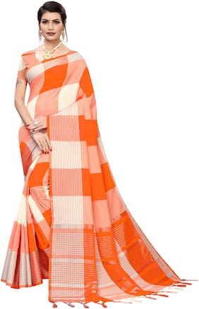 Pagazo Cotton Blend Checkered Orange & White Color Saree