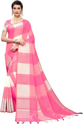 Pagazo Cotton Blend Checkered Pink Color Saree