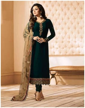 Pakistani Green Straight Semi Stich Suit For Women
