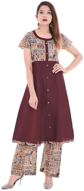 Palakh Stitched Suits Women Printed Kurta Palazzo Set
