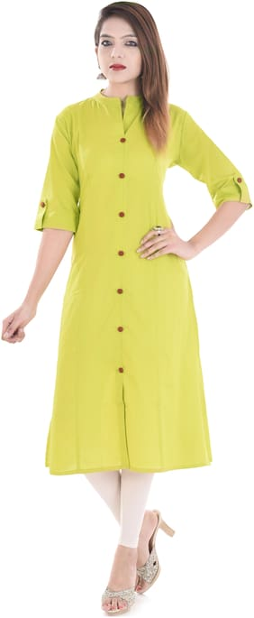Palakh Women Cotton Solid Straight Kurti - Green