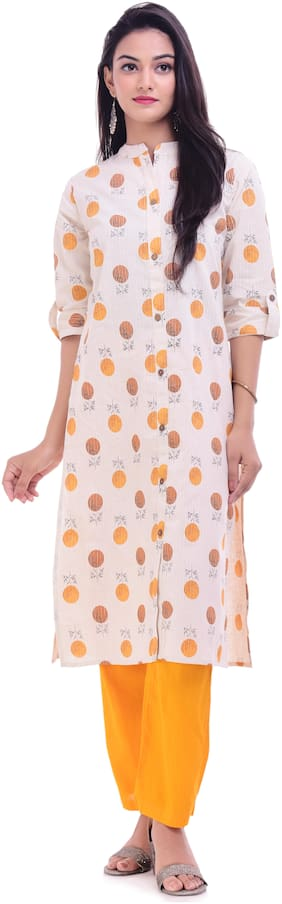 Palakh Women Cotton Printed Straight Kurta - White
