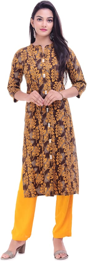 Palakh Women Rayon Floral Straight Kurta - Brown