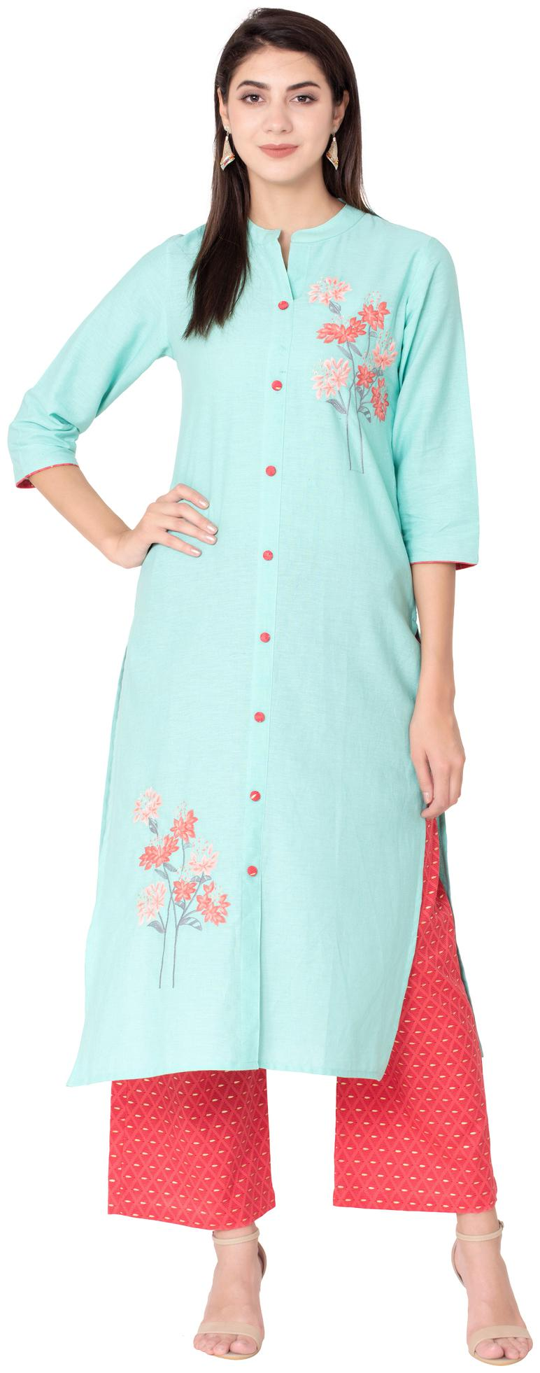 Palakh Women Cotton Embroidered Kurta Turquoise