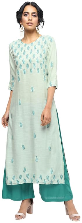Palakh Women Rayon Printed Straight Kurti dress - Beige