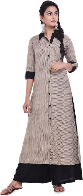 Palakh Women Rayon Striped A line Kurti dress - Beige
