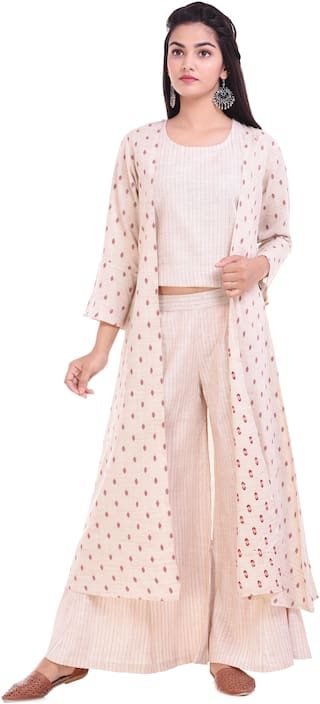 Palakh Women Cotton Printed A line Kurti dress - Pink