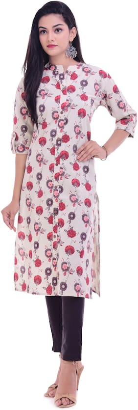 Palakh Women Cotton Floral Straight Kurta - White