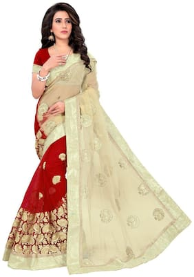 Panaah Beige And Red Net Embroidery Thread Work Saree With Blouse