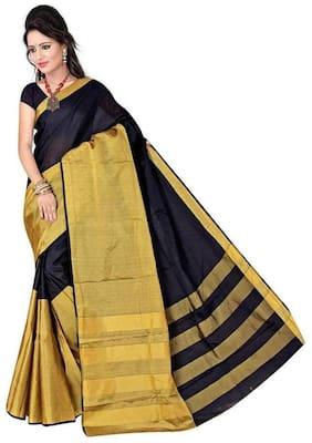 Panaah Black Cotton Silk Handloom Jacquard Saree With Blouse