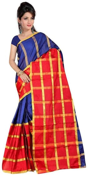 Panaah Blue Cotton Silk Handloom Jacquard Saree With Blouse