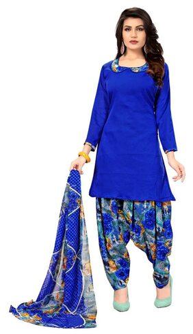 Panaah Blue Crepe Digital Print Dress Material