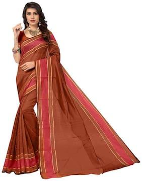 PANAAH Red Striped Kalamkari Regular Saree , With blouse