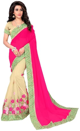 Panaah Cream And Pink Georgette And Net Embroidery Thread Work Saree With Blouse