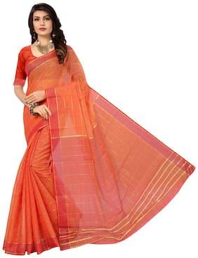 Panaah Orange Cotton Silk Weaved Saree With Blouse