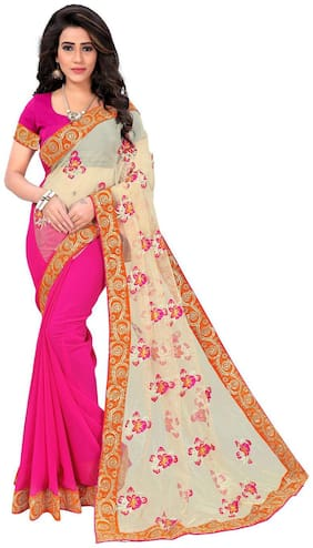 Panaah Pink Georgette And Net Embroidery Thread Work Saree With Blouse