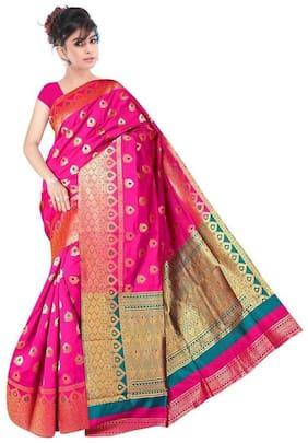PANAAH Pink Chanderi Designer Saree , Without blouse