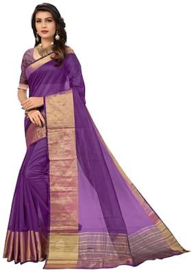 PANAAH Silk Maheshwari Zari work Saree - Purple , With blouse
