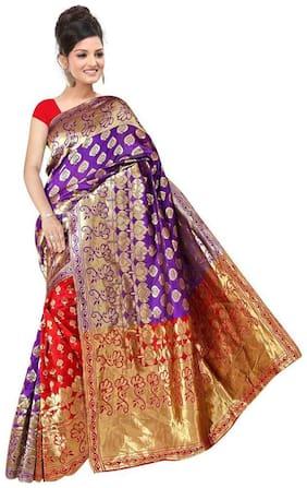 Panaah Purple Cotton Silk Handloom Jacquard Saree With Blouse