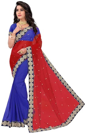 Panaah Red And Blue Georgette And Net Embroidery Thread Work Saree With Blouse