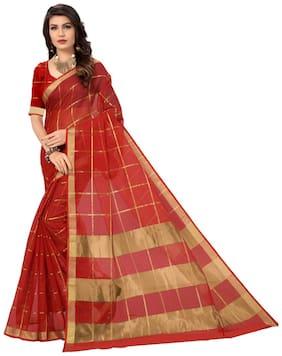 PANAAH Silk Maheshwari Zari work Saree - Red , With blouse