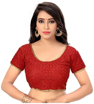 Panaah Red Readymade Designer Silk Free Size Embroidered Blouse