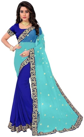 PANAAH Georgette Universal Embroidered work Saree - Blue , With blouse