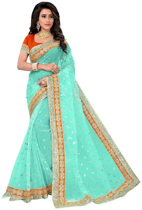 PANAAH Net Kutch Embroidered work Saree - Blue , With blouse
