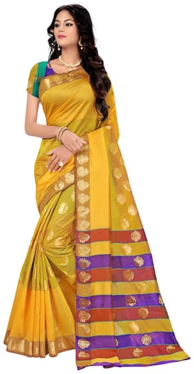 Panaah Yellow Polycotton Heavy Jacquard Worked Saree With Blouse