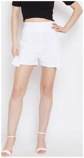 PANIT Women Solid Regular shorts - White