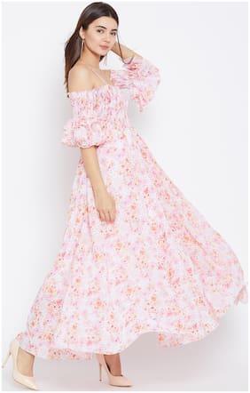 PANIT Polyester Printed Maxi Dress Pink