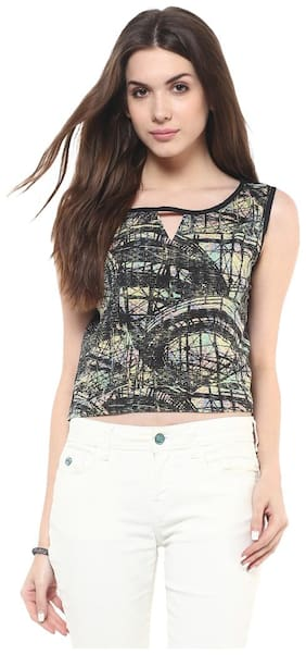 Pannkh Abstract Print Crop Top