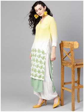 Pannkh Women White Printed Regular Kurta