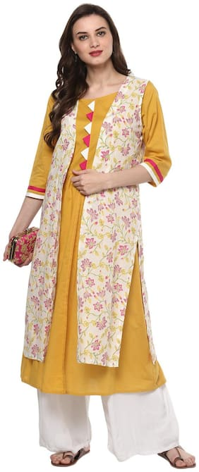 Pannkh Women's A Line Khadi Printed Kurta With Jacket