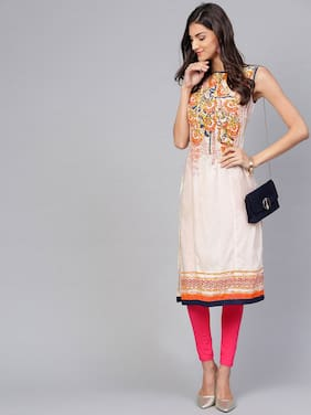 Pannkh Women White Printed Straight Kurta