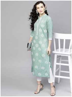 Pannkh Women Green Printed Regular Kurta