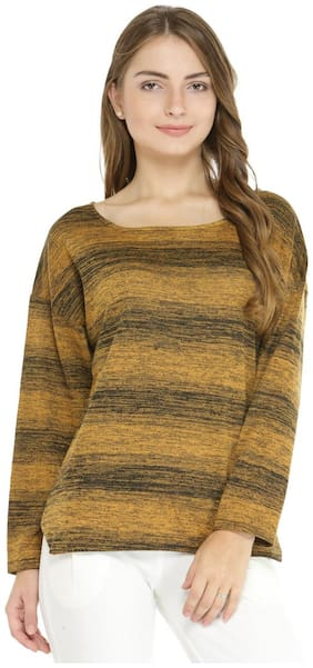 Pannkh Women Solid Sweater - Yellow