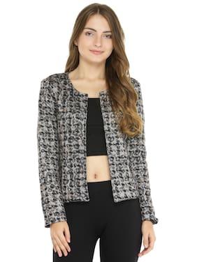 Pannkh Women Printed Regular fit Blazer - Black