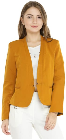 Pannkh Women Solid Regular FIt Blazer - Yellow