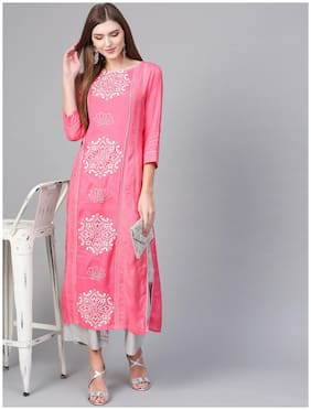 Pannkh Women Pink Printed Regular Kurta