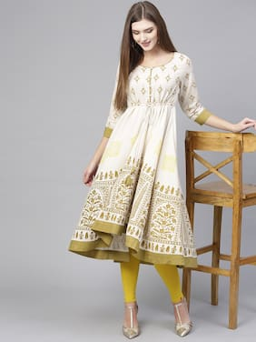 Pannkh Women White Printed Layered Kurta
