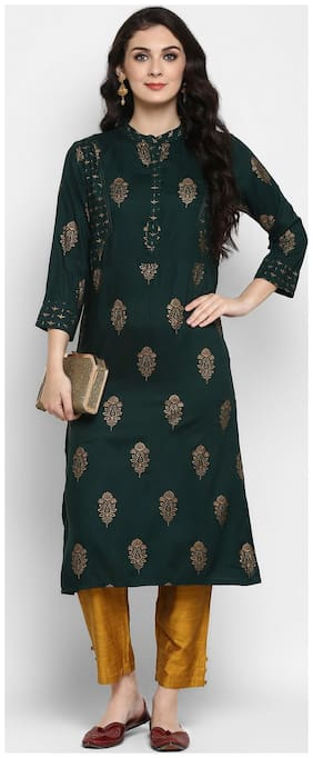 Pannkh Women Green Ethnic Motifs Straight Kurta