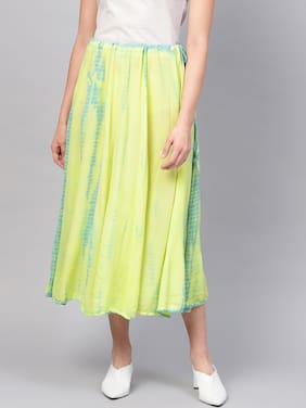 Pannkh Women's Ombre Flared Skirt