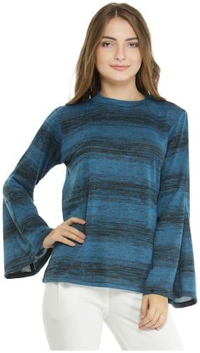Pannkh Women Printed Sweater - Blue