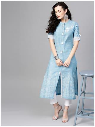 Pannkh Women Blue Printed Regular Kurta