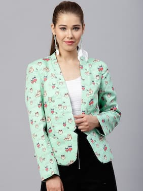 Pannkh Women Printed Regular FIt Blazer - Green