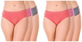 GLUCKLICH Pack Of 6 Solid Mid Waist Hipster Panty - Multi