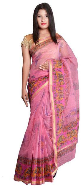 PANVI Cotton Kota Block Print Work Saree - Pink