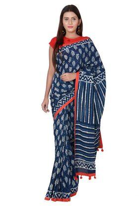 Panvi Indigo Printed Cotton Saree